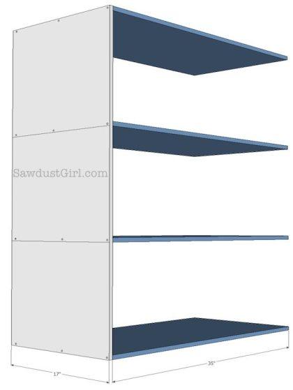 free plans- sliding storage shelves
