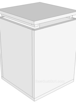 Free plans for a super easy storage bench.