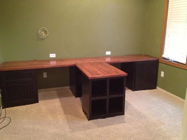 DIY Office with T shaped Countertop and Builtin Cabinets