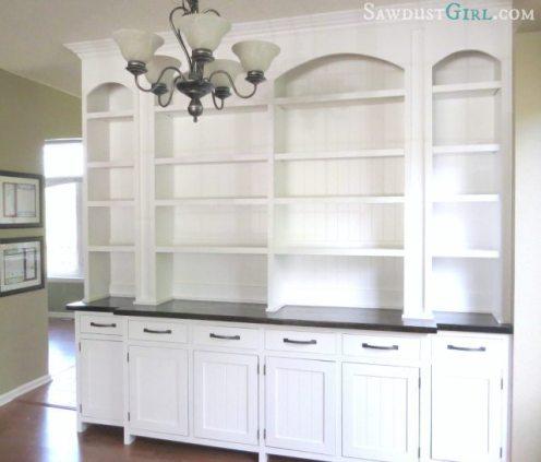Dining room built-in buffet - SawdustGirl.com