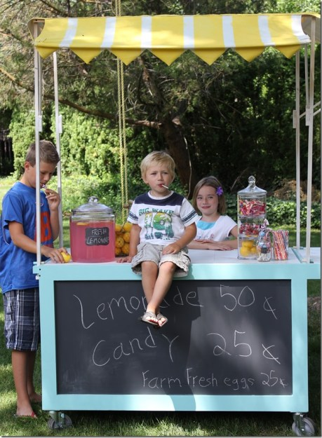 Iemonade cart with spray painted striped canopy