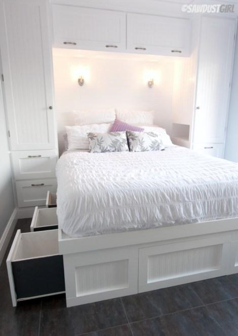 Built-in Wardrobes and Platform Storage Bed - sawdustgirl.com