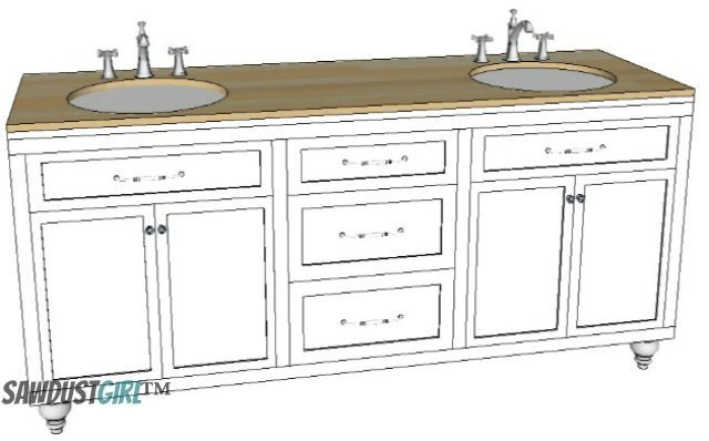 double vanity with center drawers