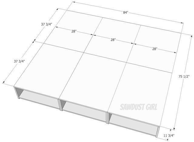 CA King Platform Storage Bed --free plans