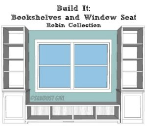 Free plans for the Robin Collection Bookshelf Base from Sawdust Girl.