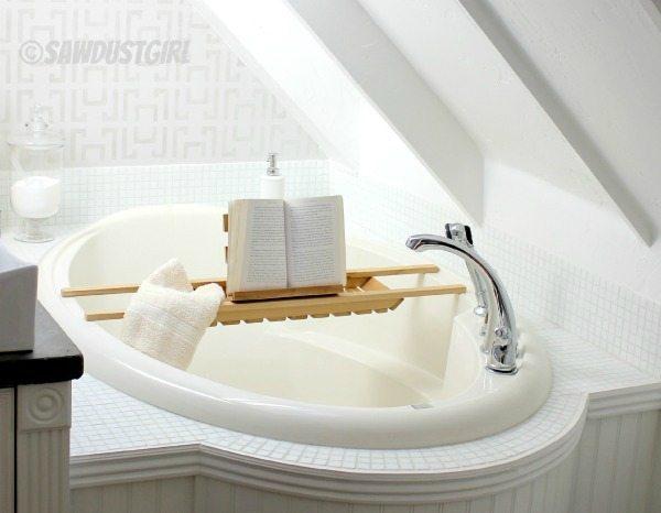 Easy cedar bathtub caddy