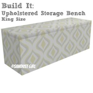 King size upholstered storage bench plans from SawdustGirl.com