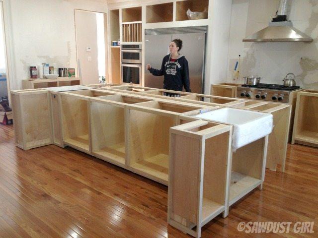 Kitchen island cabinets.