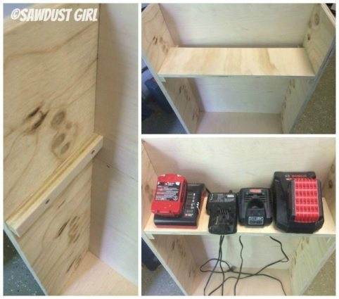 battery charger for tools in rolling work cart -woodworking plans