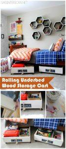 Rolling Under bed Wood Storage Cart