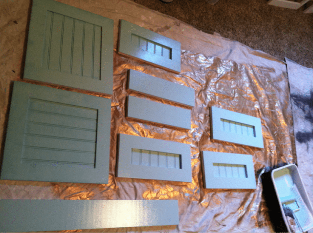 Turquoise doors and drawer fronts for bathroom vanity cabinets