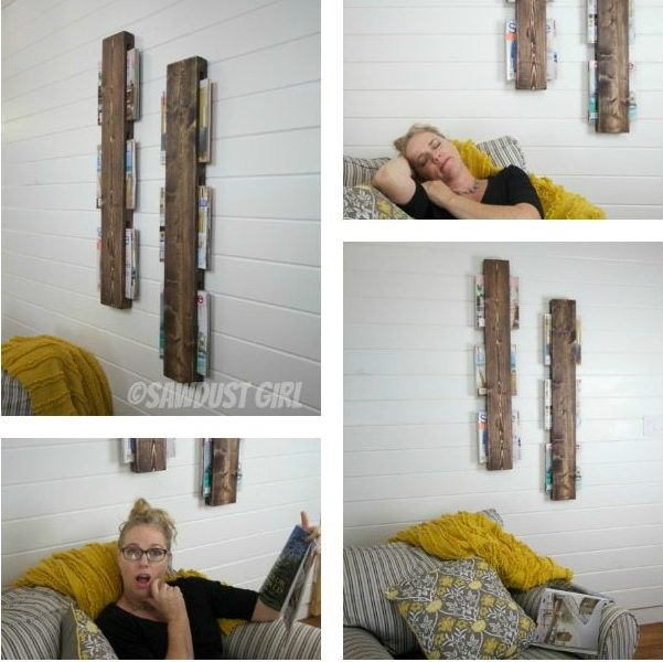 $5 wall mounted magazine rack - easy woodworking diy project