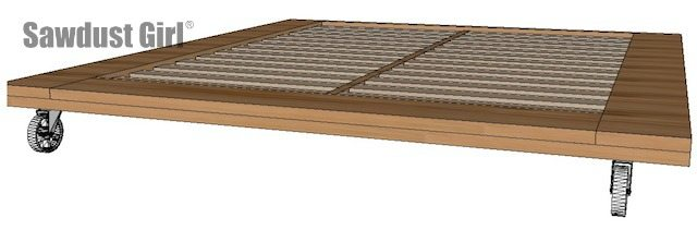Industrial platform bed - free and easy woodworking plans from https://sawdustgirl.com.