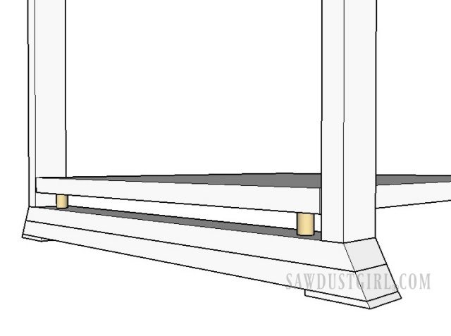 Using dowels to attach shelf or tabletop