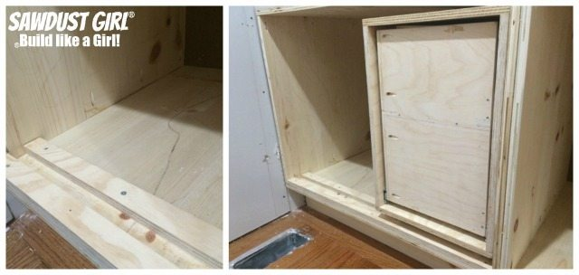 Build a diy corner cabinet with NO wasted space! Plan and tutorial from https://sawdustgirl.com.