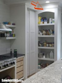 Hidden Entrance to Pantry with Pocket Doors - Sawdust Girl