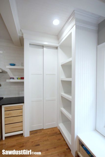 Hidden Entrance to Pantry with Pocket Doors  Sawdust Girl