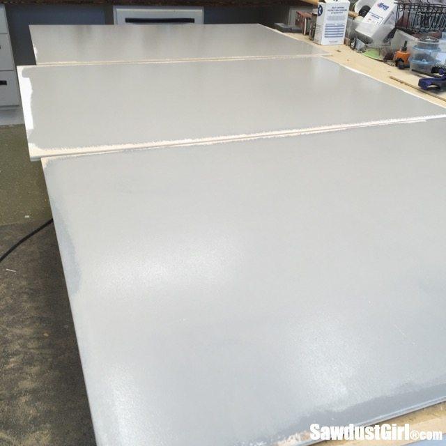 Chalkboard paint for sliding doors on workshop cabinets