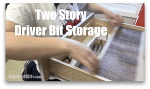 Two tier drawer storage for driver bits.