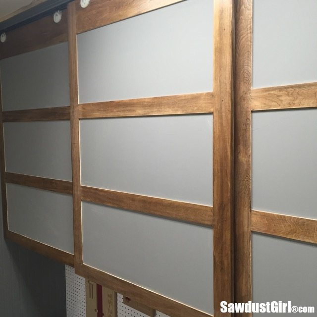 Easy diy sliding doors for cabinets sawdust girl - Bedroom cabinets with sliding doors ...