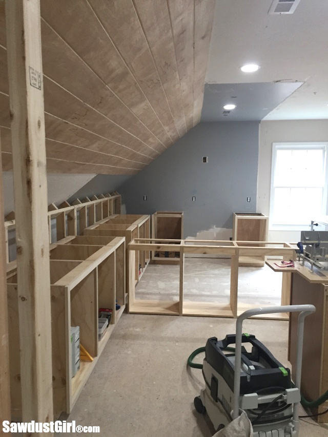 Installing Cabinets in Craft Room