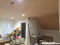 V Groove Plywood Plank Ceiling - Sawdust Girl