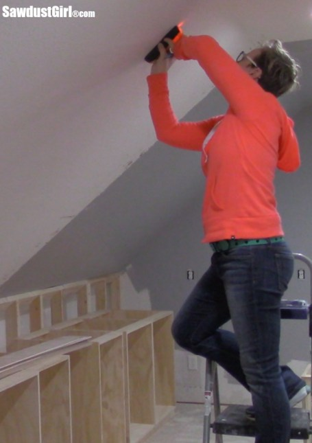 Installing a DIY Plywood V-Groove Plank Ceiling using stud finder