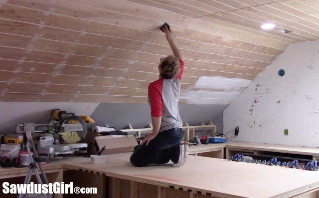 V Groove Plywood Plank Ceiling Sanding