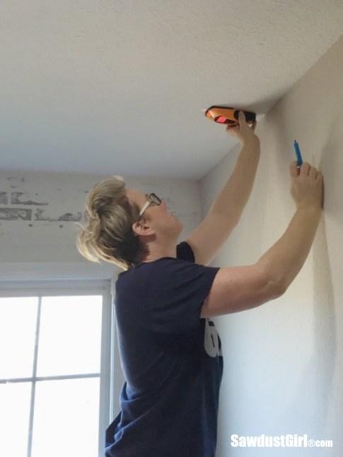 stud finder to DIY Plywood V-Groove Plank Ceiling