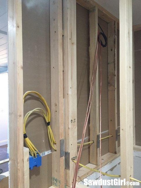 Electrical installed in TV wall.