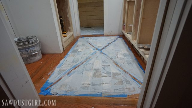 Wood Floor with Tile Inlay