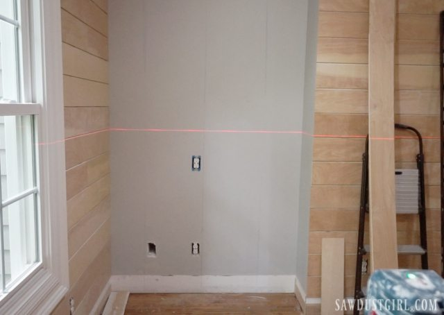 Laser level when installing planks