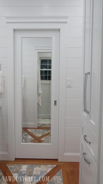 Mirrored Pocket Door  Jack and Jill Bathroom Update