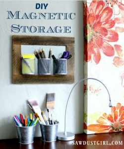 DIY magnetic storage is a cheap easy way to declutter counter tops, desks, tables, etc.