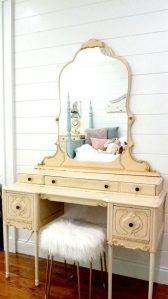 Vintage vanity in pretty bedroom