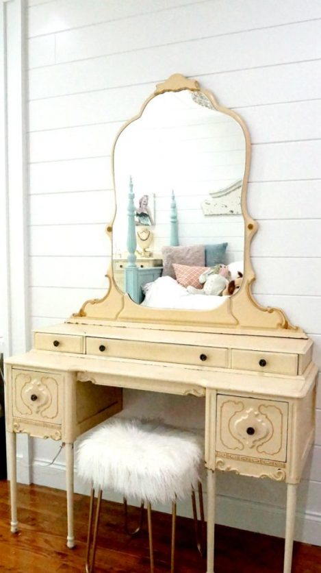 This little vanity makeover is a glamorous touch for a pretty bedroom. DIYing the legs lets you customize and save $$$.
