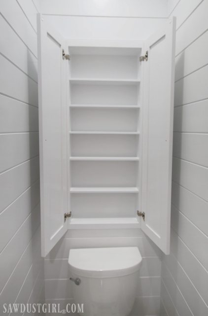 recessed wall cabinet for toilet paper storage - sawdust girl®