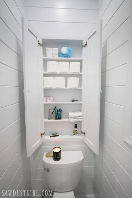Recessed Wall Cabinet for Toilet Paper Storage  Sawdust Girl