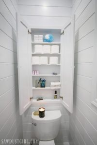 Recessed Wall Cabinet for Toilet Paper Storage - Sawdust Girl