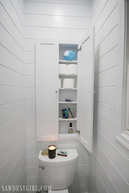 In wall toilet paper cabinet
