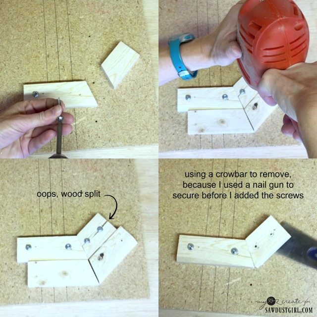 attaching jig pieces to scrap wood