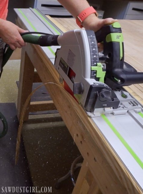 Using a track saw to joint wood before building diy tables