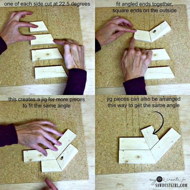 using angle pieces to create a jig for octagons