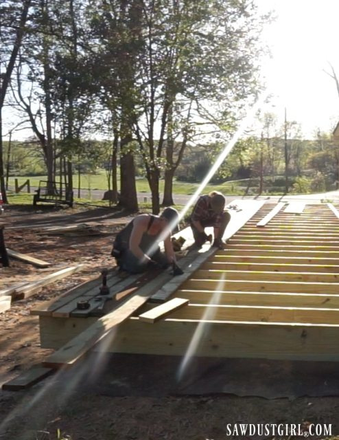 Installing decking boards