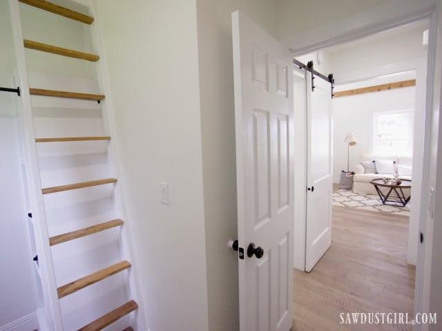 bedroom, hallway, living room