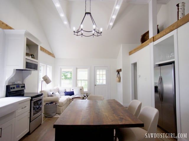 great room with cathedral ceiling