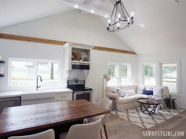 organic minimal great room, kitchen, living room