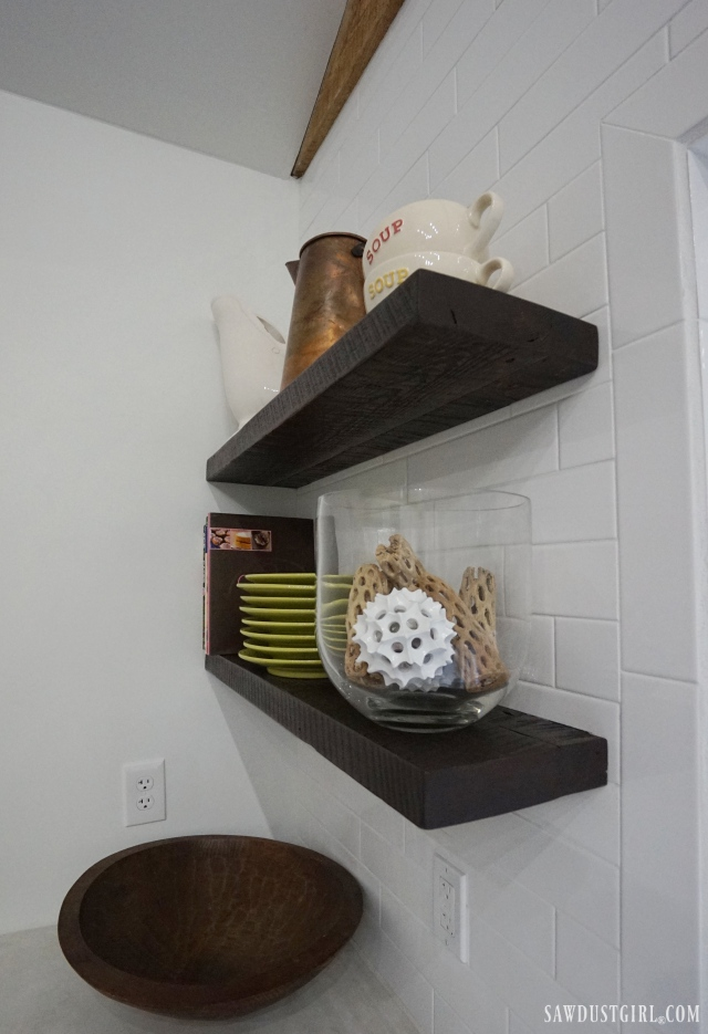 reclaimed lumber floating shelves