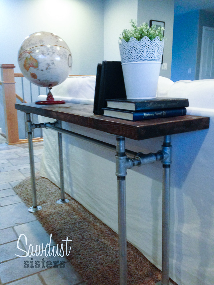 how to make a sofa table top leather sofas atlanta easy diy with pipe frame sawdust sisters build your own