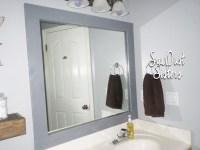 DIY Bathroom Mirror Frame - Sawdust Sisters